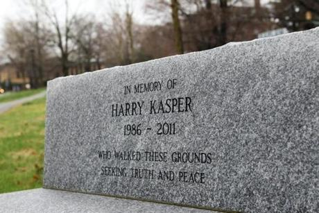 A memorial bench for Harry Kasper sits just up the street from his childhood home.